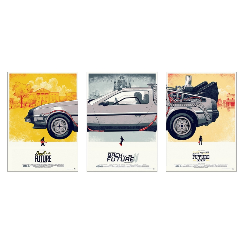 Back to the Future Trilogy movie poster DeLorean - 3 pieces