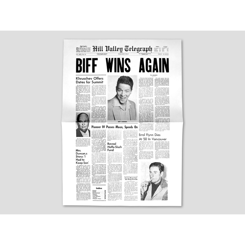 """Title page HILL VALLEY TELEGRAPH """"Biff wins again"""""""
