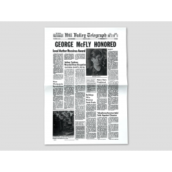 "Titelseite HILL VALLEY TELEGRAPH ""George McFly Honored"""
