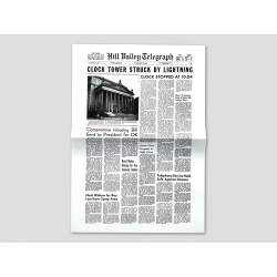 "Titelseite HILL VALLEY TELEGRAPH ""Clock Tower struck by Lightning"""