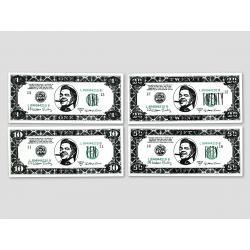 4 verschiedene Biffco Dollar-Noten (1$, 5$, 20$, 50$)
