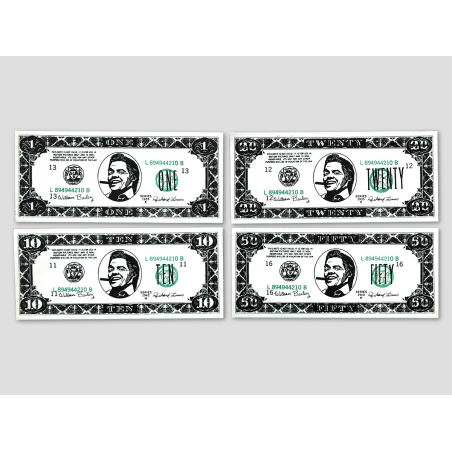4 different Biffco Dollar notes (1$, 5$, 20$, 50$)