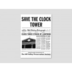 """""""Save the Clock Tower"""" Flyer weiß"""