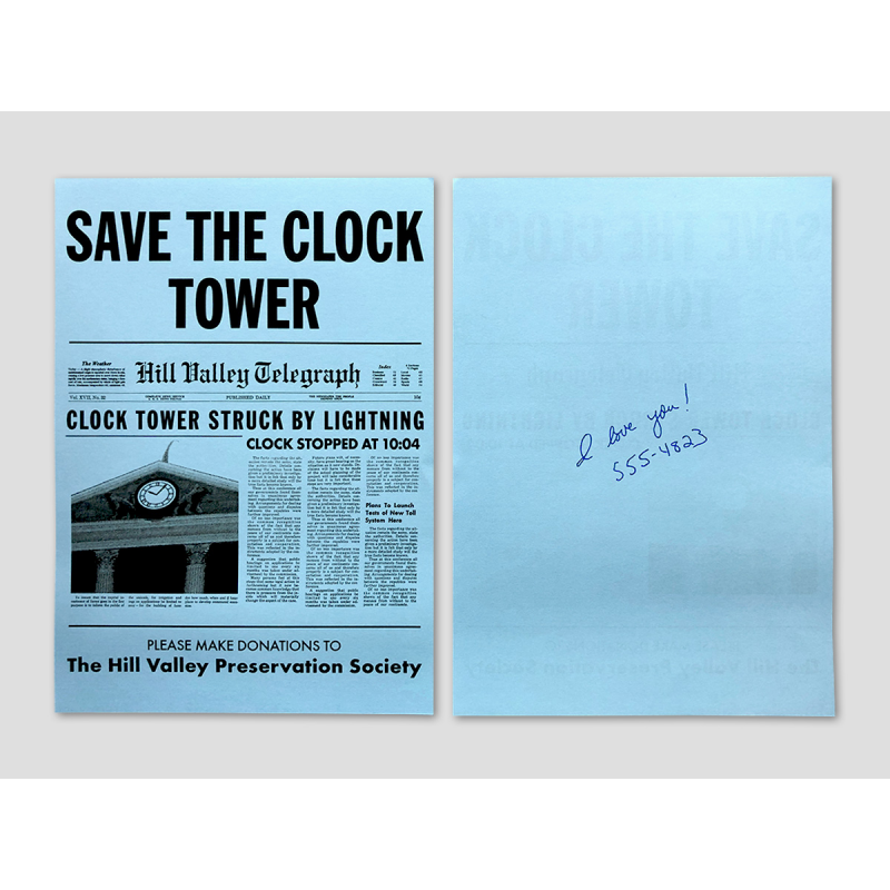 """Save the Clock Tower"" Flyer blau (inkl. Widmung)"