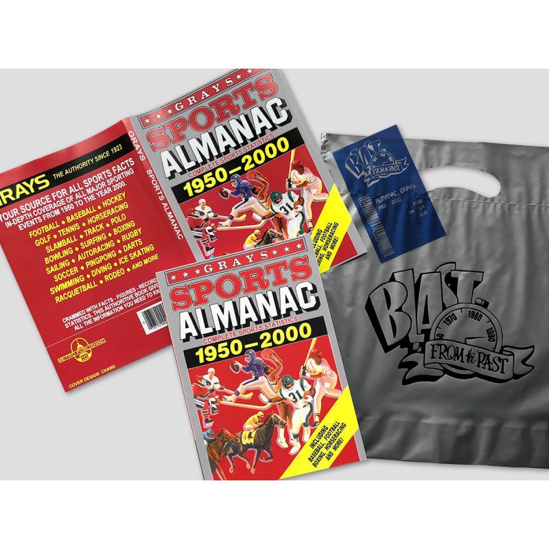 BUNDLE: BTTF Grays Sports Almanac Movie prop set incl. dust cover, receipt and silver bag