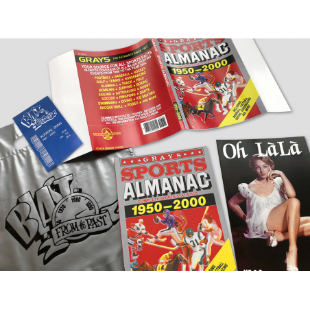 BUNDLE: BTTF Grays Sports Almanac Movie prop set incl. dust cover, receipt, silver bag, Oh Làlà