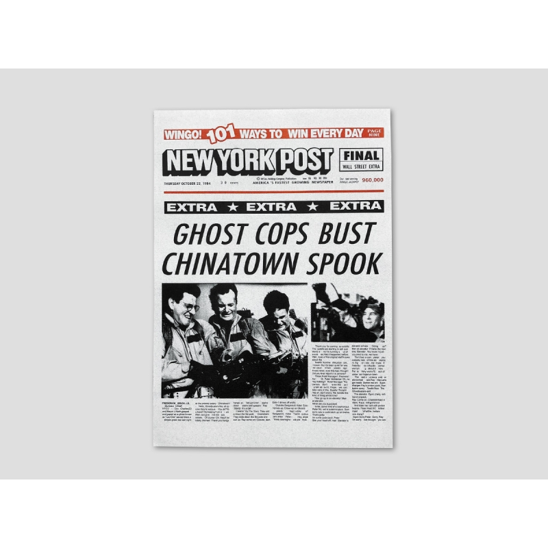 """Titelseite NEW YORK POST """"GHOST COPS BUST CHINATOWN SPOOK"""""""