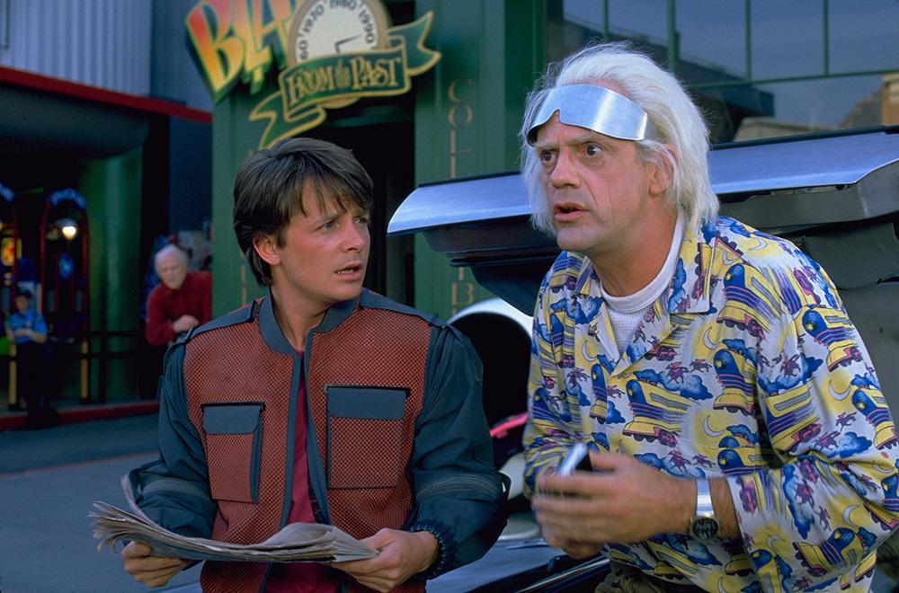 Marty und Doc im Hill Valley von 2015.