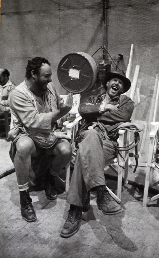 There was always a lot to laugh about on the set: Harrison Ford with acting colleague John Rhys-Davies..