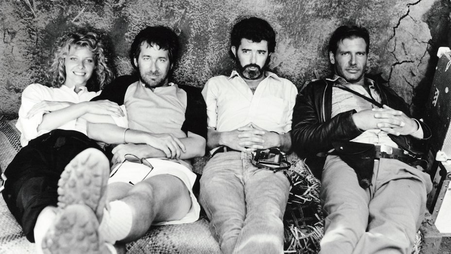 Harrison Ford with Steven Spielberg, George Lucas and Kate Capshaw in a shooting break from the Temple of Doom.