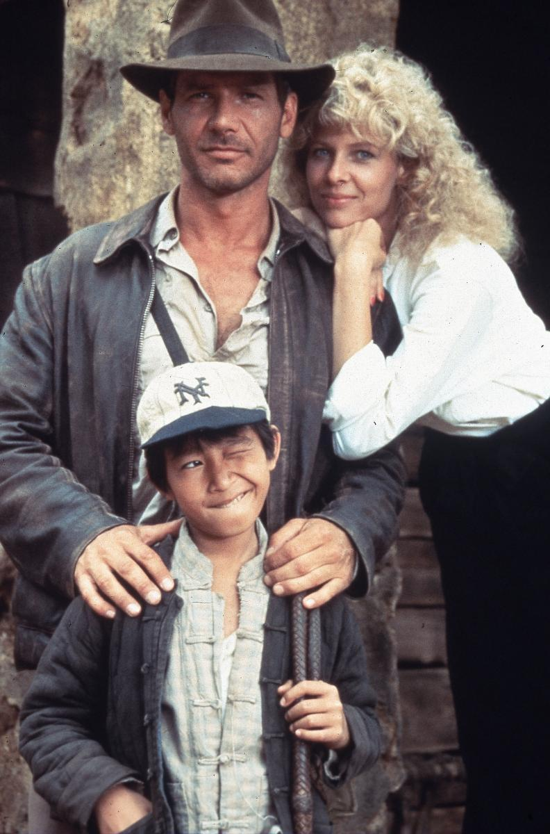 The stars from Temple of Doom: Harrison Ford, Kate Capshaw and Jonathan Ke Quan.