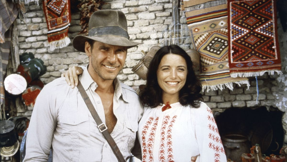 Harrison Ford and Karen Allen on the set of Raiders of the Lost Ark.