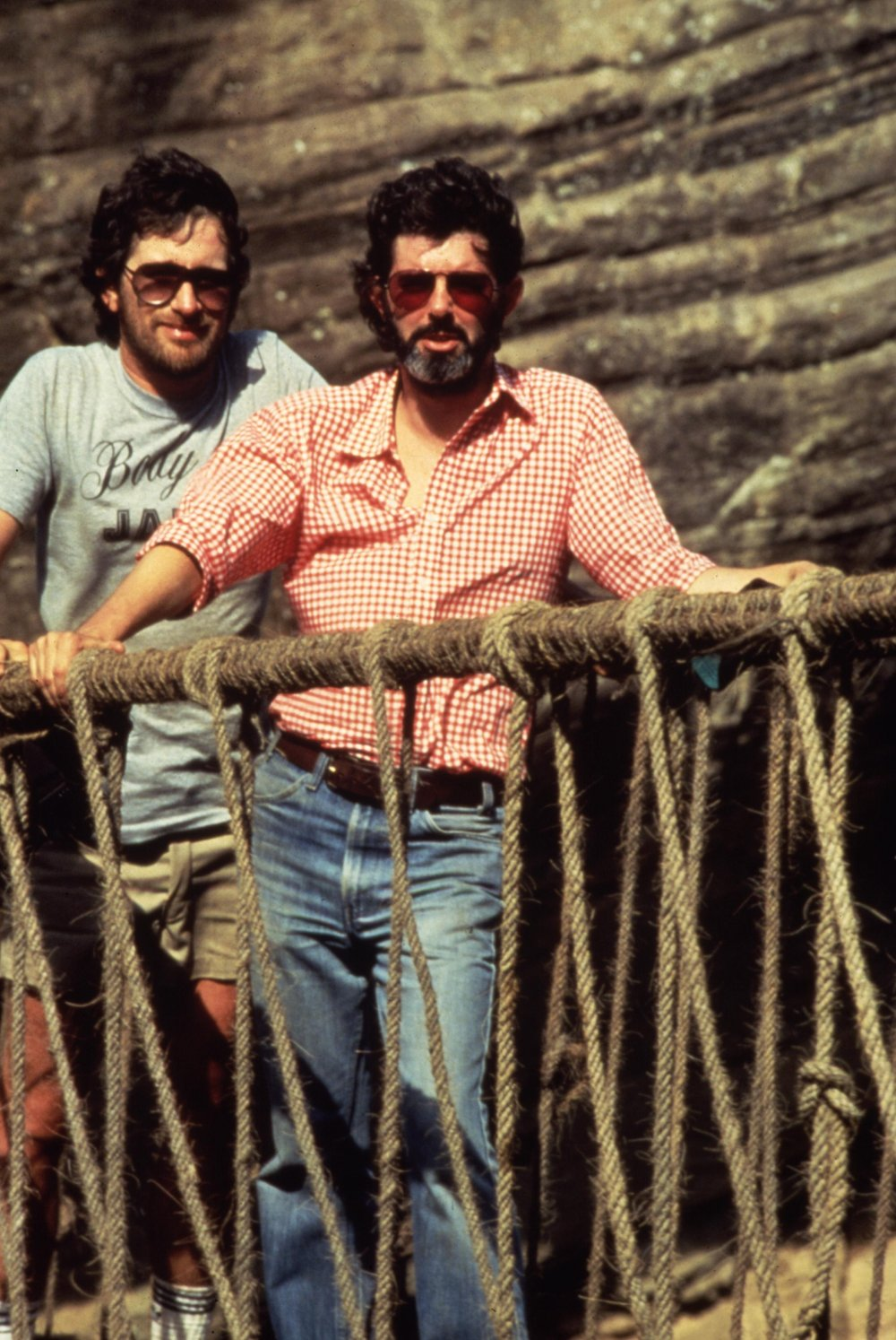 Director Steven Spielberg with producer George Lucas.