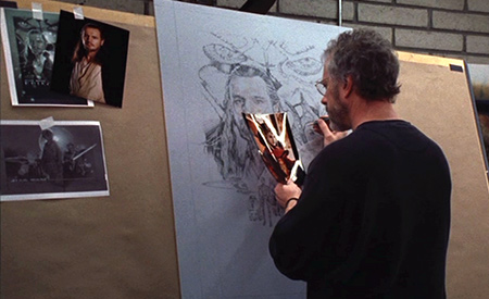 Struzan at the sketch of the movie poster Star Wars: Episode I - The Phantom Menace.