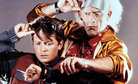 Michael J. Fox and Christopher Lloyd made themselves available as models of the 1989 film poster Back to the Future II.